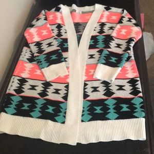 Sweaters - Women's Colorful Geometric Open Cardigan Size M